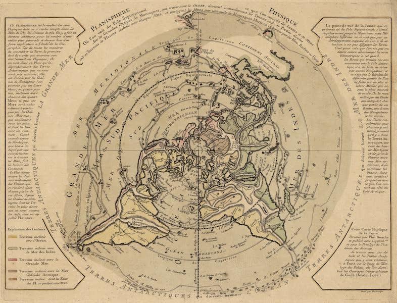 Cartes et Tables de la Geographie Physique ou Naturelle - Planisphere physique, où l'on voit du pole septentrional ce que l'on connoît de terres et de mers (1757)