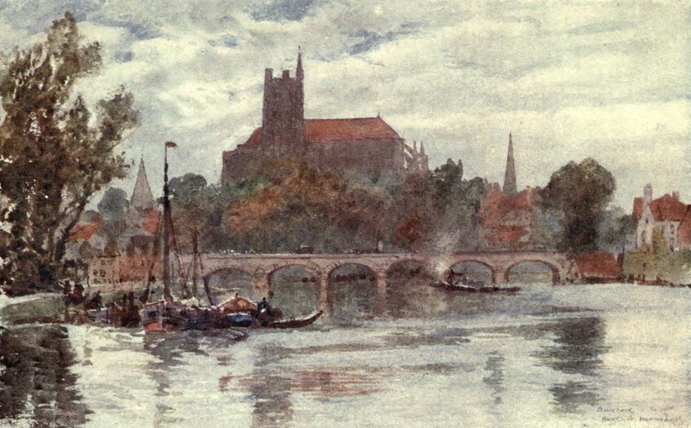 Cathedral Cities of France - The Bridge and Cathedral, Auxerre (1907)