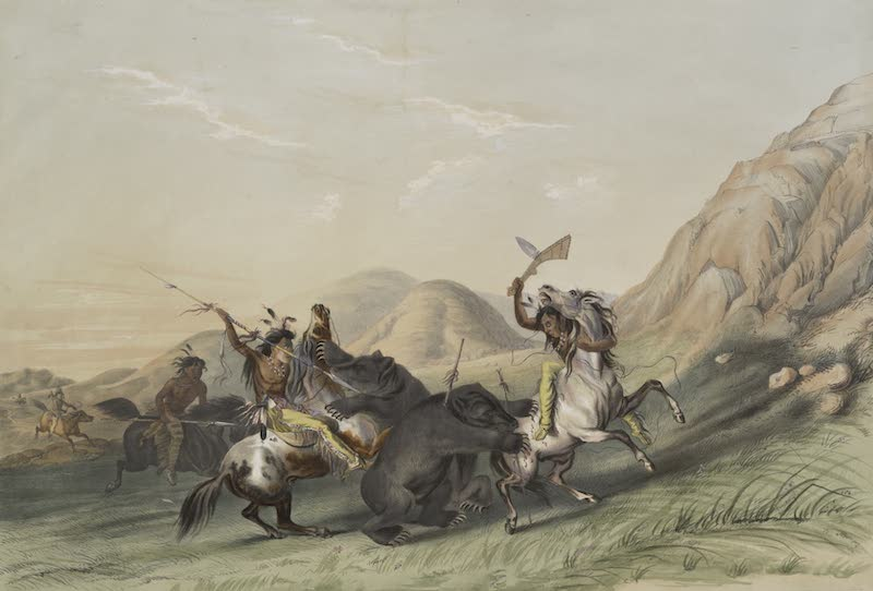 Catlin's Indian Portfolio - Attacking the Grizzly Bear (1844)