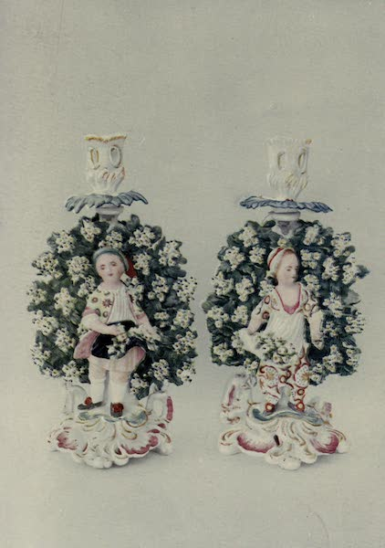 Chelsea and Chelsea-Derby China - Candlesticks in Bocage (1909)