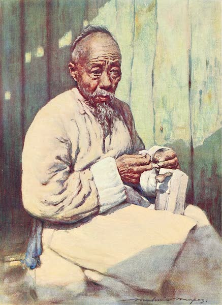 China, by Mortimer Menpes - A Shoemaker (1909)