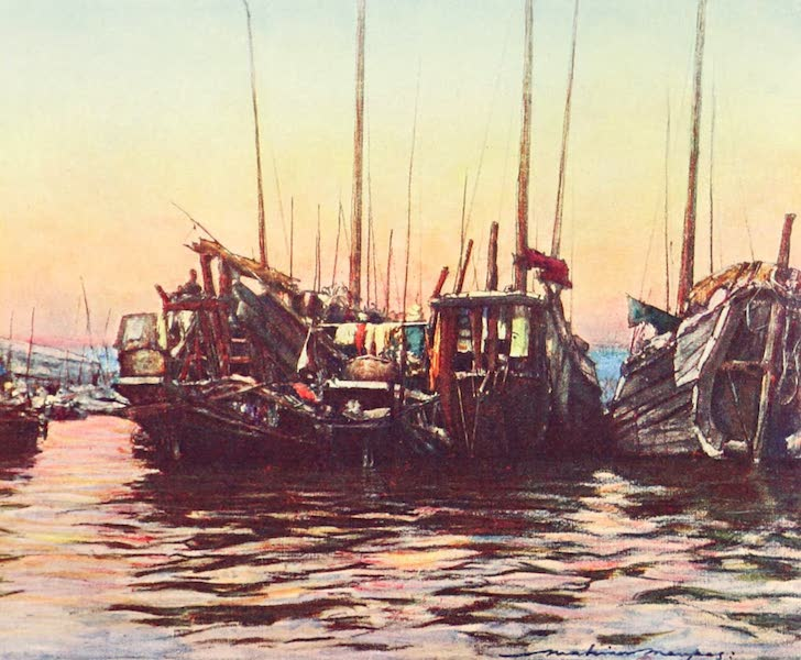 China, by Mortimer Menpes - Junks at Eventide (1909)
