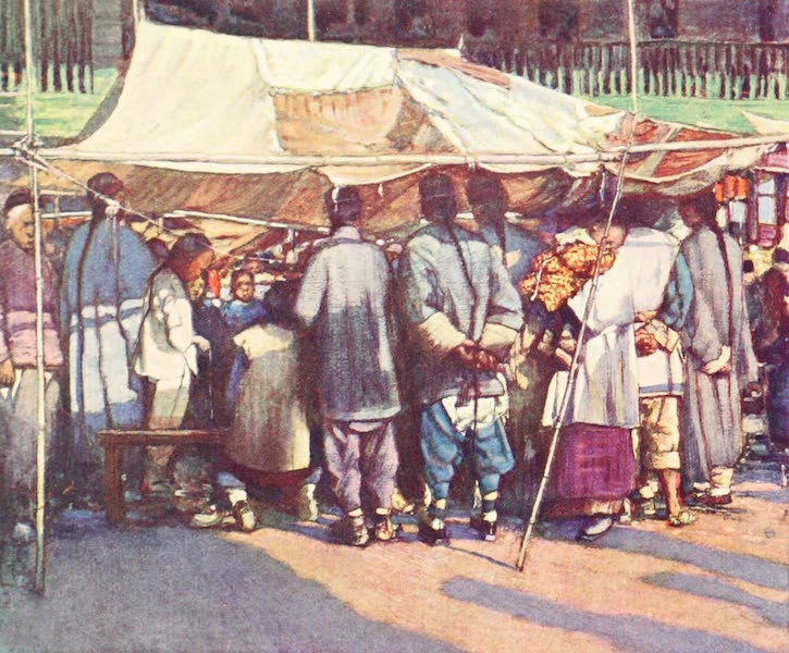 China, by Mortimer Menpes - A Street Stall (1909)