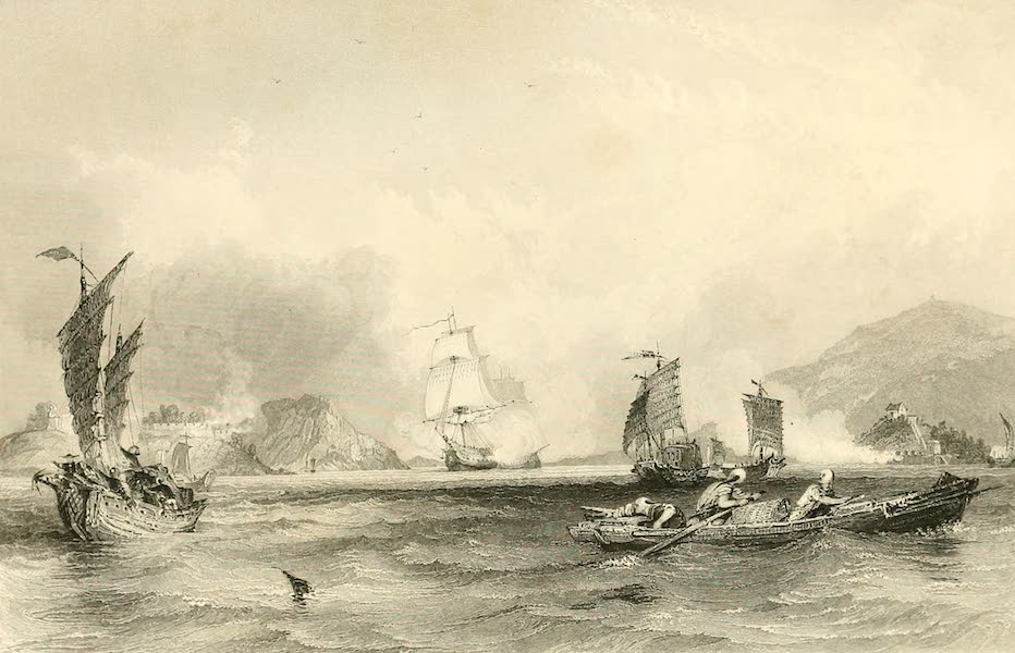 China in a Series of Views Vol. 1 - The Imogene and Andromache passing Bocca Tigris (1843)