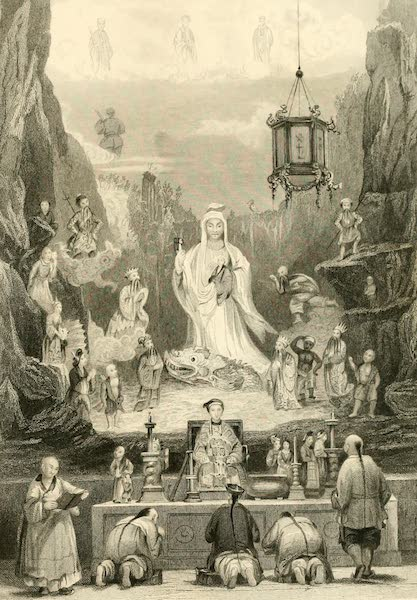 China in a Series of Views Vol. 2 - Altar-piece in the Great Temple, Ting-hai  (1843)