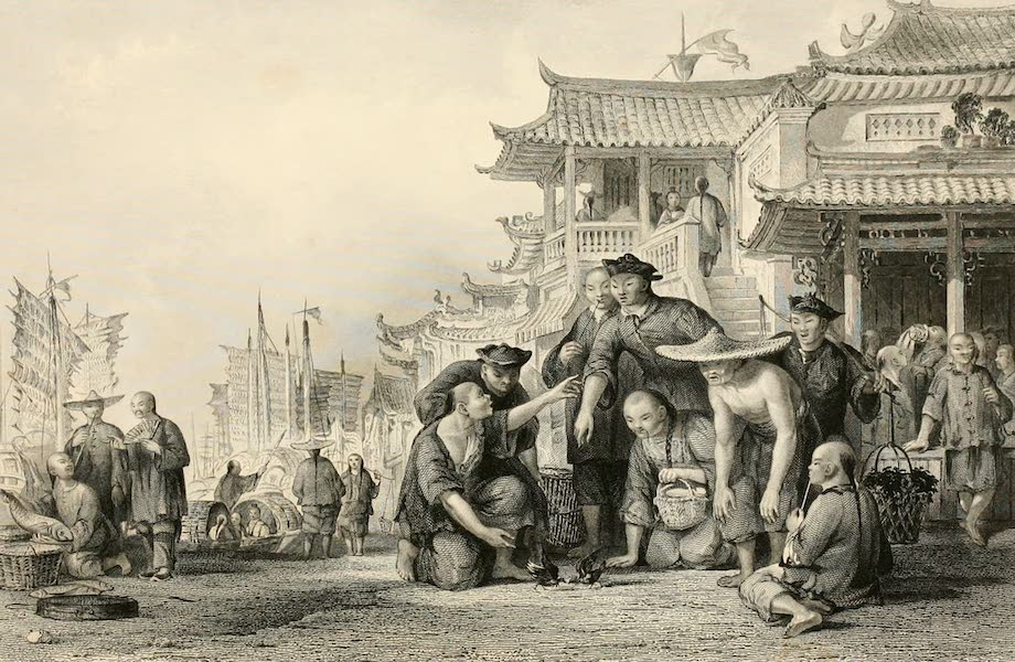 China in a Series of Views Vol. 2 - Canton Bargemen fighting Quails (1843)
