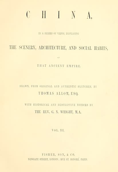 China in a Series of Views Vol. 3 - Title Page (1843)