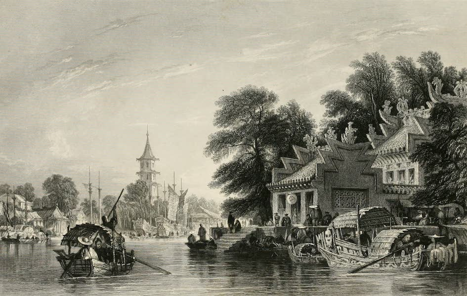 China in a Series of Views Vol. 4 - Pagoda and Village on the Canal, near Canton (1843)
