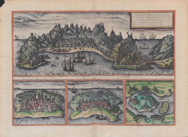 Civitates Orbis Terrarum Vol. 1 - Aden Mombaza Qviloa Cefala (1572)