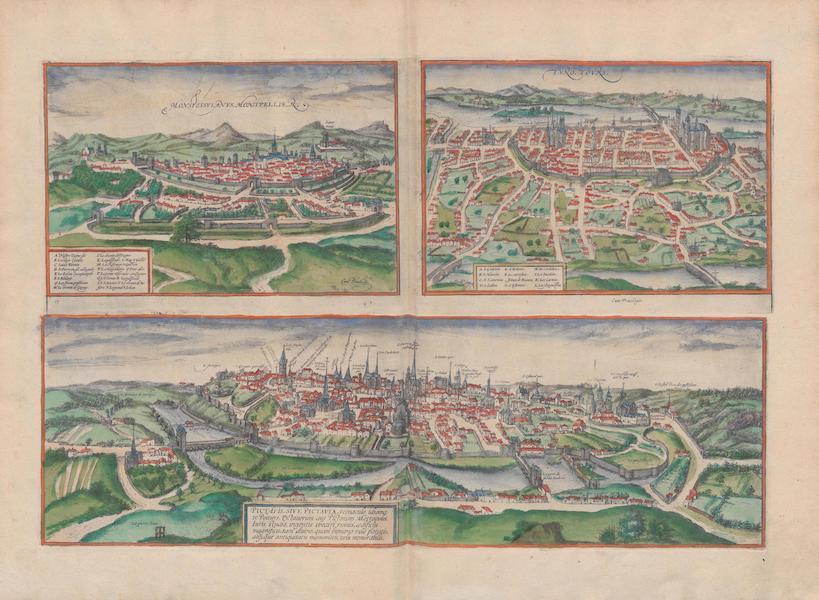 Civitates Orbis Terrarum Vol. 1 - Monspessvlanvs Montpellier Tvro Tovrs Pictavis Sive Pictavia (1572)