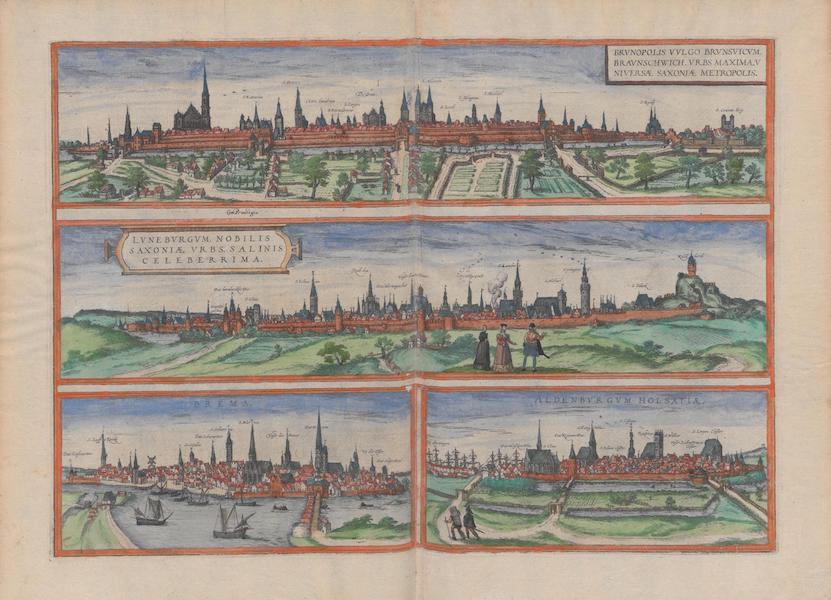 Civitates Orbis Terrarum Vol. 1 - Brvnopolis Vvlgo Brvnsvicvm Lvnebrgvm Brema Aldenbvrgvm Holsatiae (1572)