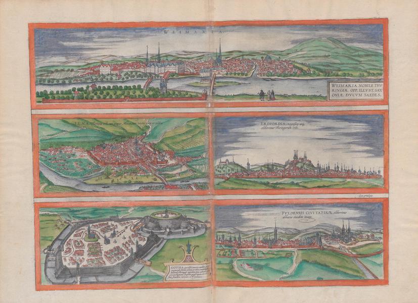 Civitates Orbis Terrarum Vol. 1 - Weimaria Iena Gotha Erdfordia Fvldensis Civitatis (1572)