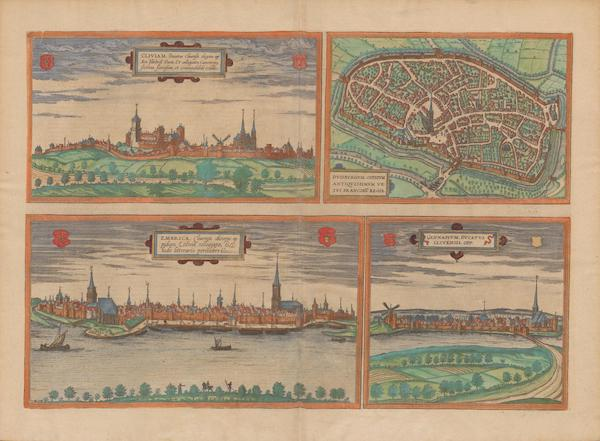 Civitates Orbis Terrarum Vol. 2 - Cliviam Dvisbvrgvm Embrica and Gennapivm (1575)
