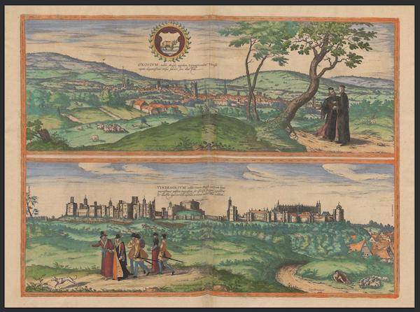 Civitates Orbis Terrarum Vol. 2 - Oxonivm Nobile Anglie Oppidum Vindesorivm (1575)