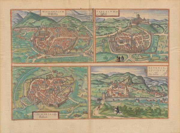 Civitates Orbis Terrarum Vol. 2 - Wissenbvrgvm Rvbreacvm Colmaria Badense Oppidvm Vulgo Oben Baden (1575)