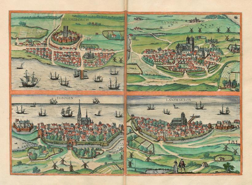 Civitates Orbis Terrarum Vol. 4 - Helsheborch Lvnden Elbogen et Landeskron (1588)