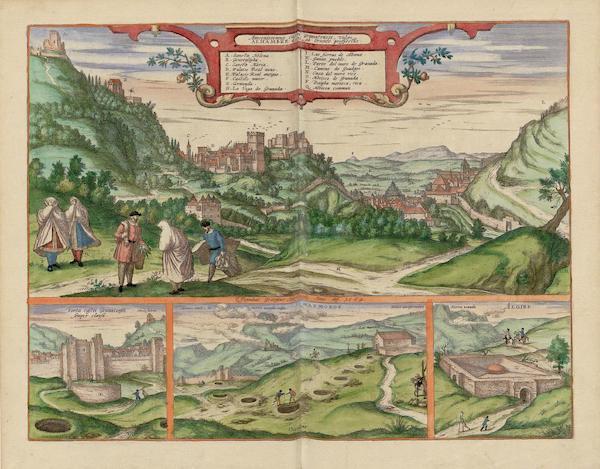 Alhambre 1564 Insets Porta Castri Granatensis Semper Clausa Masmoros et Algibe