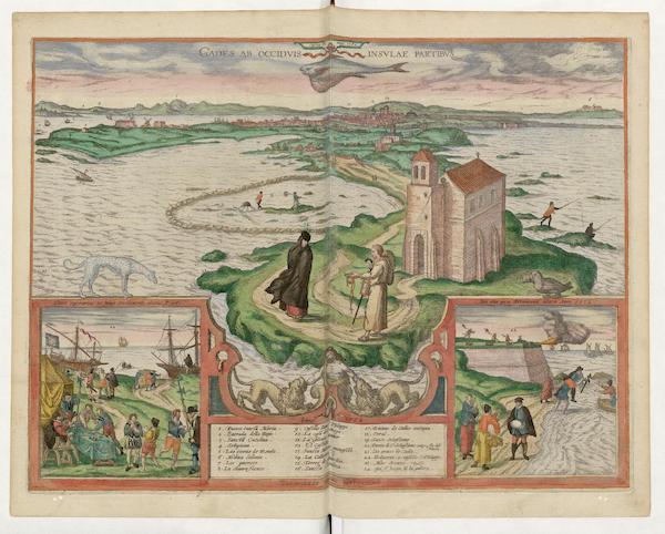 Gades Ab Occidvis Insvlae Partibvs 1564 Harbor Of Cadiz Inset