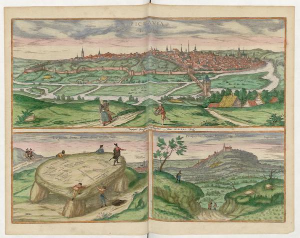 Civitates Orbis Terrarum Vol. 5 - Pictavia Vulgo Poictiers 1561 La Poictiers et Prospectus Montis Henrici (1596)