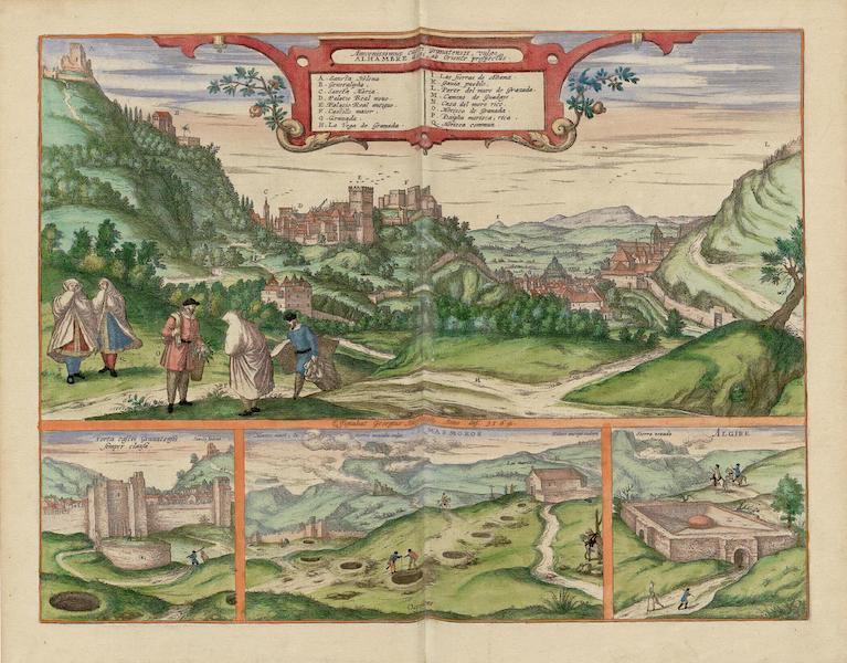 Civitates Orbis Terrarum Vol. 5 - Alhambre 1564 Insets Porta Castri Granatensis Semper Clausa Masmoros et Algibe (1596)