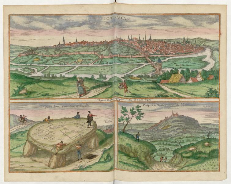 Pictavia Vulgo Poictiers 1561 La Poictiers et Prospectus Montis Henrici