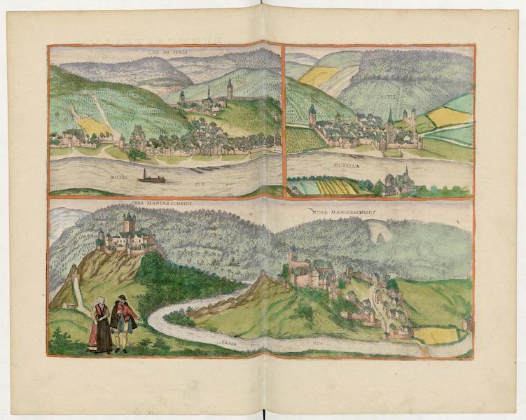 Civitates Orbis Terrarum Vol. 5 - Celimham Berncastel Over Manderscheidt Nider Mandersheidt (1596)