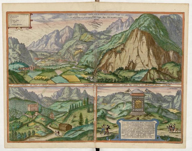 Civitates Orbis Terrarum Vol. 5 - Prospectivs Amoe Nissimvs Vallis Oeniponticae Vnacvm Antro (1596)