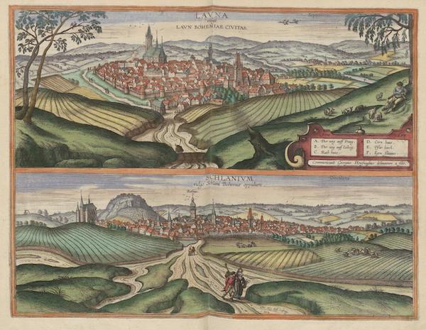Civitates Orbis Terrarum Vol. 6 - Lavna Vulgo Lavn Bohemiae Civitates et Schlanivm Vulgo Schlani (1617)