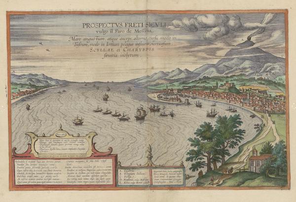 Civitates Orbis Terrarum Vol. 6 - Prospectuvs Freti Sicvli Vulgo Il Faro Di Messina 1617 (1617)