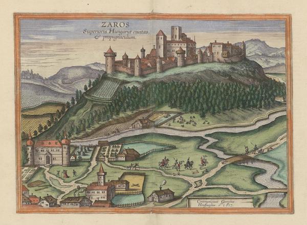 Civitates Orbis Terrarum Vol. 6 - Zaros Superioris Hungariae Civitatas and Propugnaculum (1617)