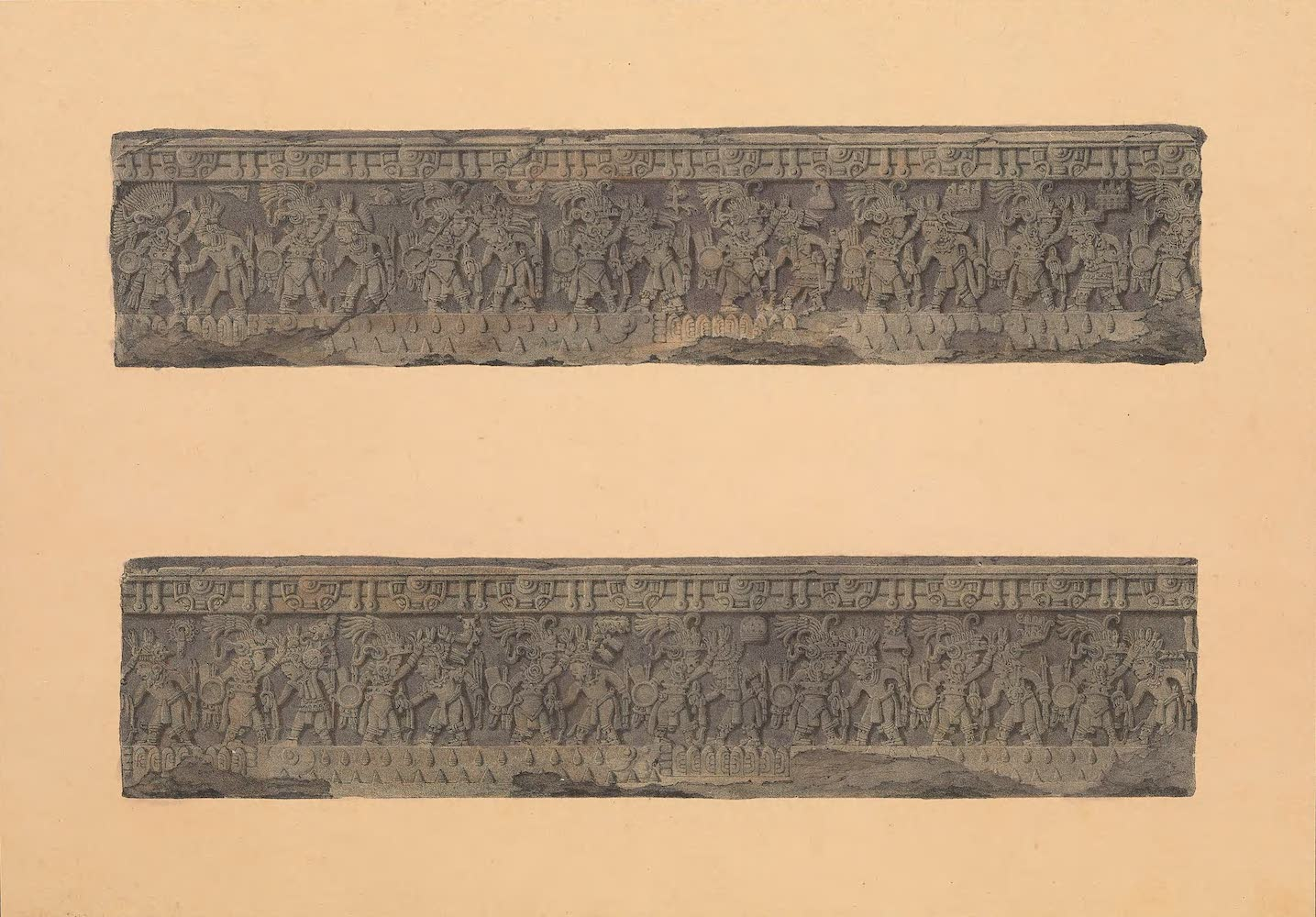 Coleccion de las Antiguedades Mexicanas - Bajo-Relieve de la Piedra de Sacrificio (1827)