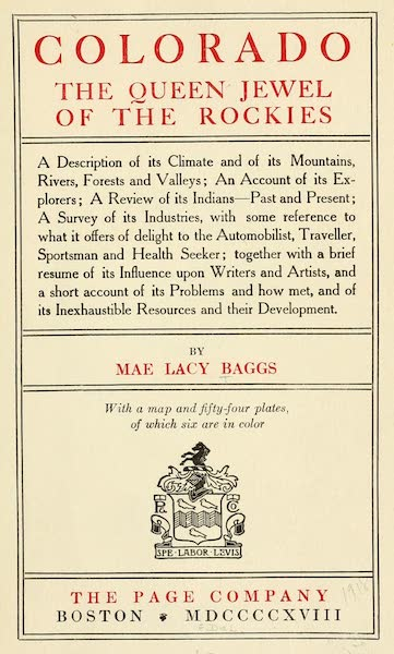Colorado, The Queen Jewel of the Rockies - Title Page (1918)