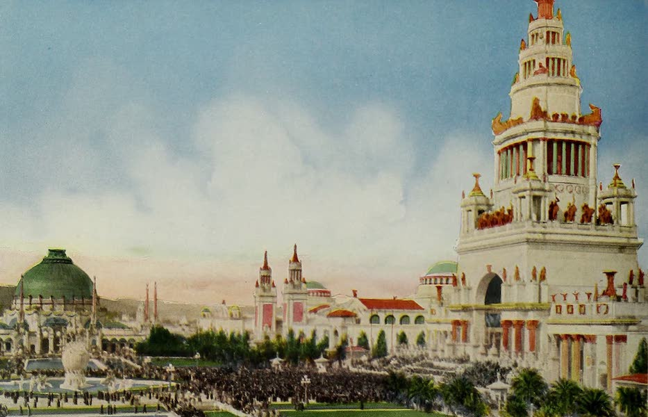 Colortypes of the Panama-Pacific International Exposition - The Tower of Jewels and the Great South Gardens (1915)