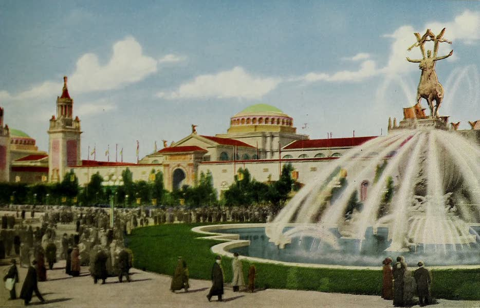 Colortypes of the Panama-Pacific International Exposition - The Palace of Liberal Arts and Calder's Fountain of Energy (1915)