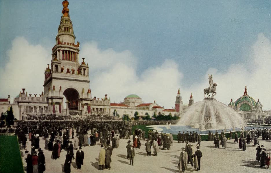 Colortypes of the Panama-Pacific International Exposition - The Tower of Jewels and Calder's Fountain of Energy (1915)