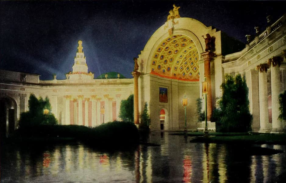 Colortypes of the Panama-Pacific International Exposition - A Section of the Court of the Four Seasons - Illuminated (1915)