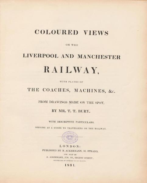 Coloured Views of the Liverpool and Manchester Railway - Title Page (1831)