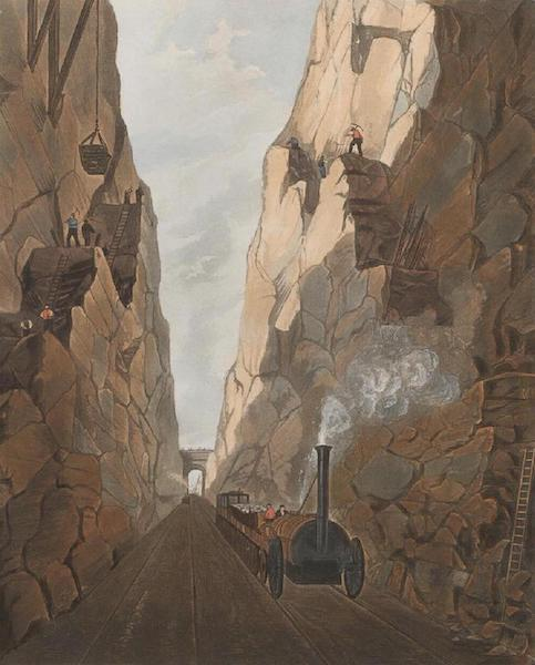 Coloured Views of the Liverpool and Manchester Railway - Excavation of Olive Mount four miles from Liverpool (1831)