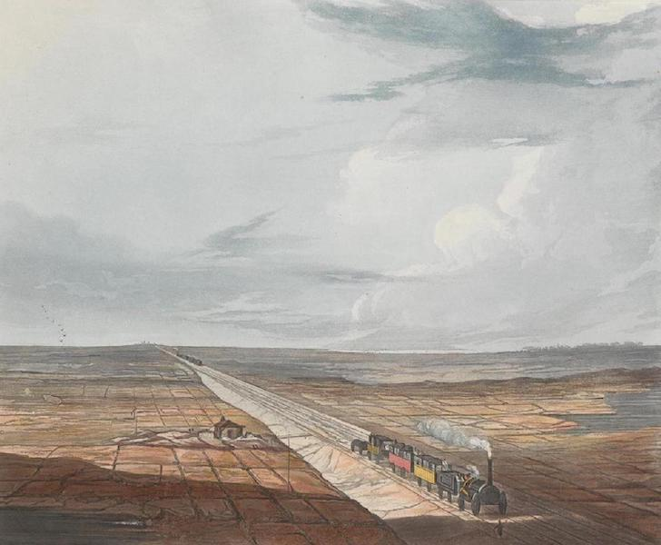 Coloured Views of the Liverpool and Manchester Railway - View of the Railway across Chat Moss (1831)
