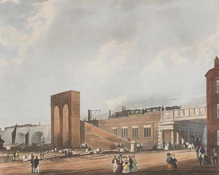 Coloured Views of the Liverpool and Manchester Railway - Entrance into Manchester across Water Street (1831)