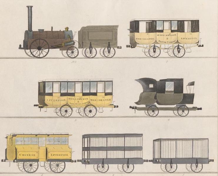 Coloured Views of the Liverpool and Manchester Railway - Coaches &c. employed on the Railway. (No.1 The Northumbrian Steam-Engine &c. No. 2, 3 5 Carriages for Passengers. No. 4 Private Carriage. No. 6, 7 Carriages for Cattle) (1831)