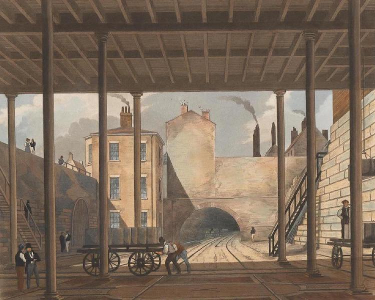 Coloured Views of the Liverpool and Manchester Railway - Warehouses &c. at the end of the Tunnel towards Wapping (1831)