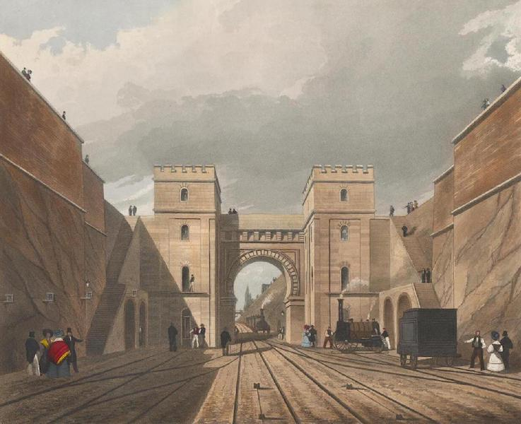 Coloured Views of the Liverpool and Manchester Railway - Moorish Arch looking from the Tunnel (1831)