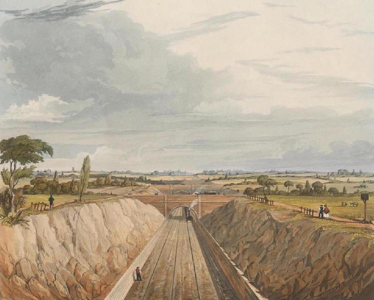 Coloured Views of the Liverpool and Manchester Railway - Near Liverpool, looking towards Manchester (1831)