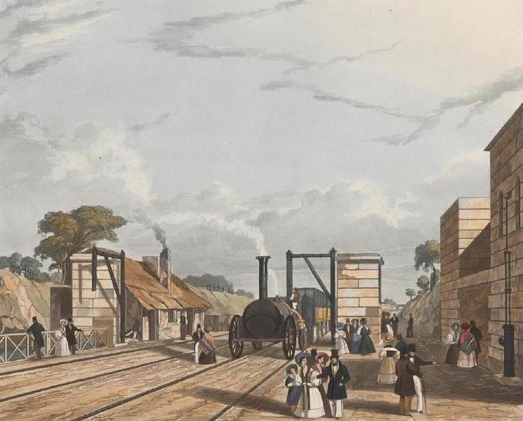 Coloured Views of the Liverpool and Manchester Railway - Taking in Water at Parkside (The station where Mr. Huskissonn fell) (1831)