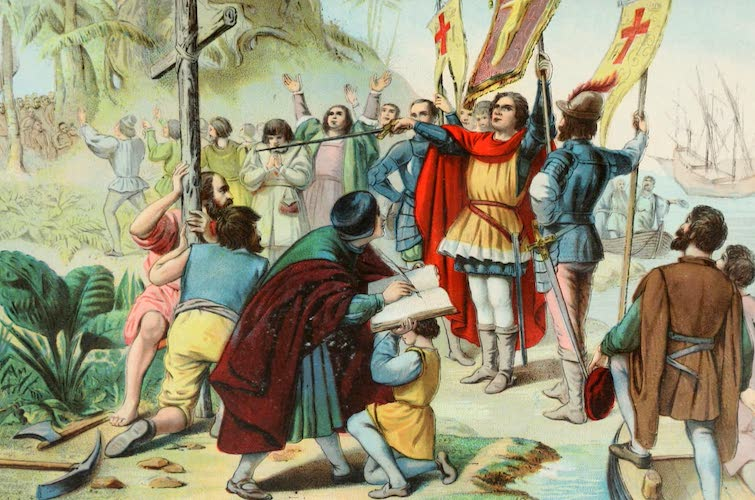 Columbus and Columbia - Columbus Taking Possession of the New World (1892)