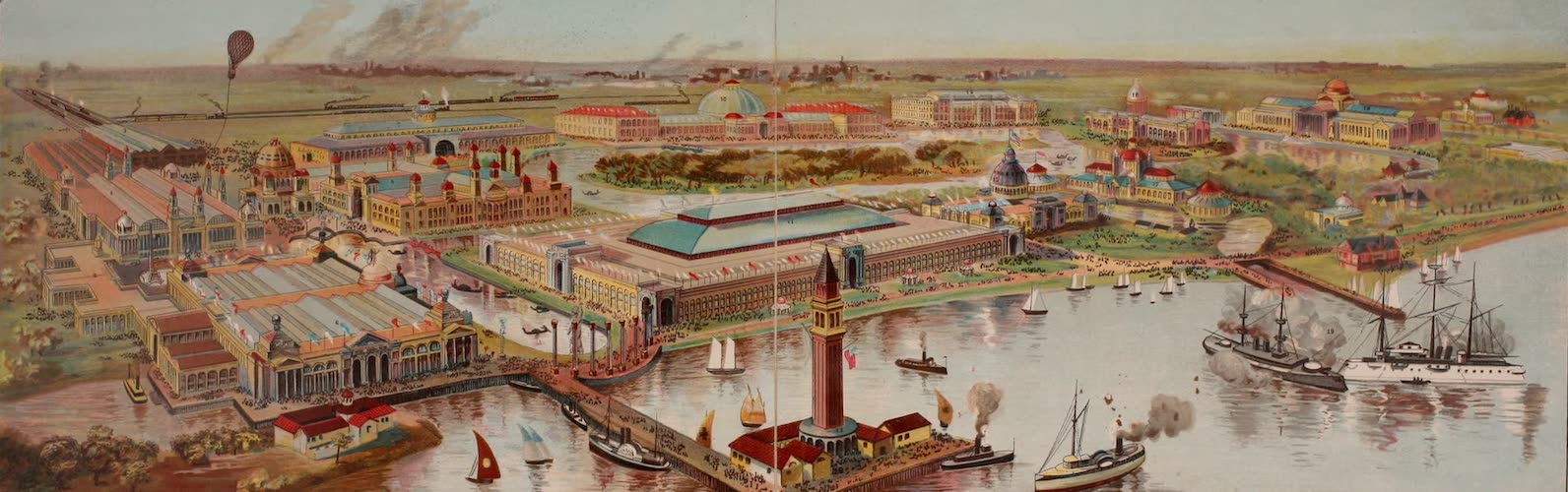 Columbus and Columbia - Panoramic View of the Columbian Exchange (1892)