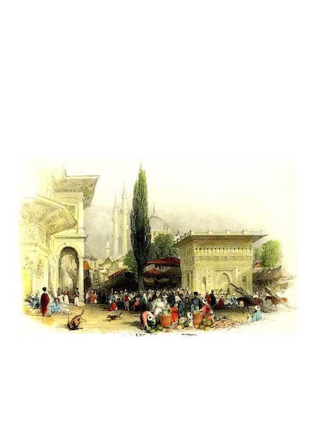 Constantinople and the Scenery of the Seven Churches of Asia Minor Vol. 1 - Fountain and Market Place of Tophana (1839)