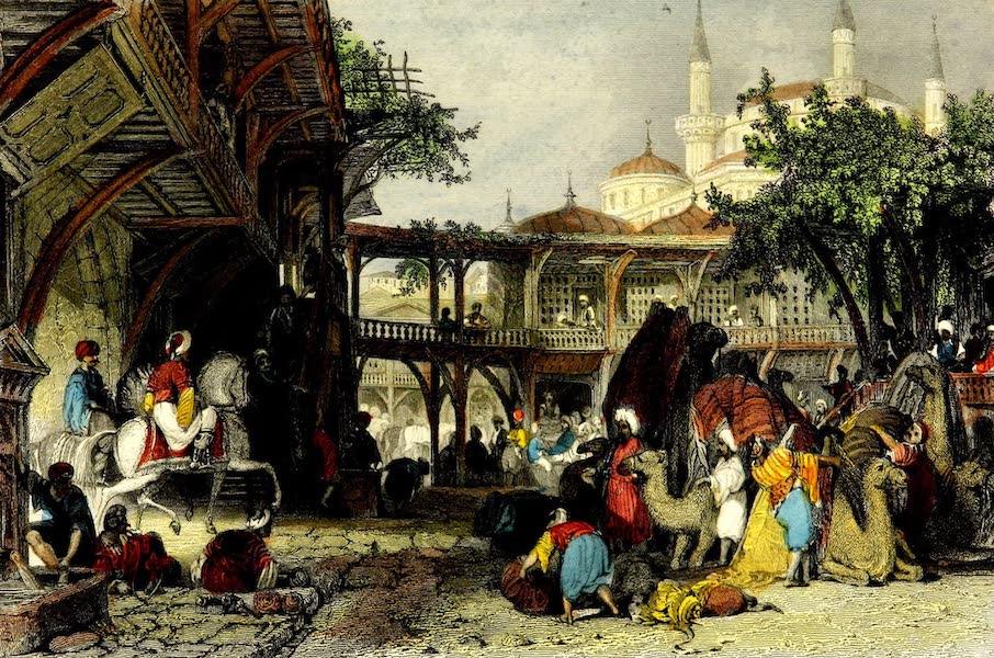 Constantinople and the Scenery of the Seven Churches of Asia Minor Vol. 1 - Caravanseraï at Guzel-Hissar, on the Meander (1839)
