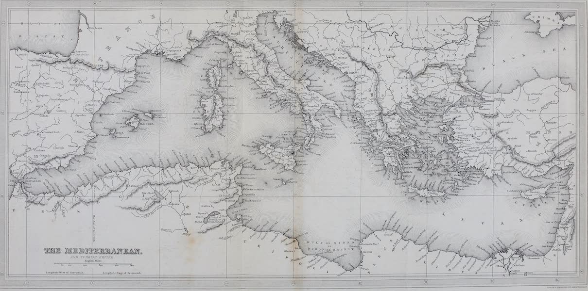 Constantinople and the Scenery of the Seven Churches of Asia Minor Vol. 2 - Map of the Mediterranean, and Turkish Empire (1839)